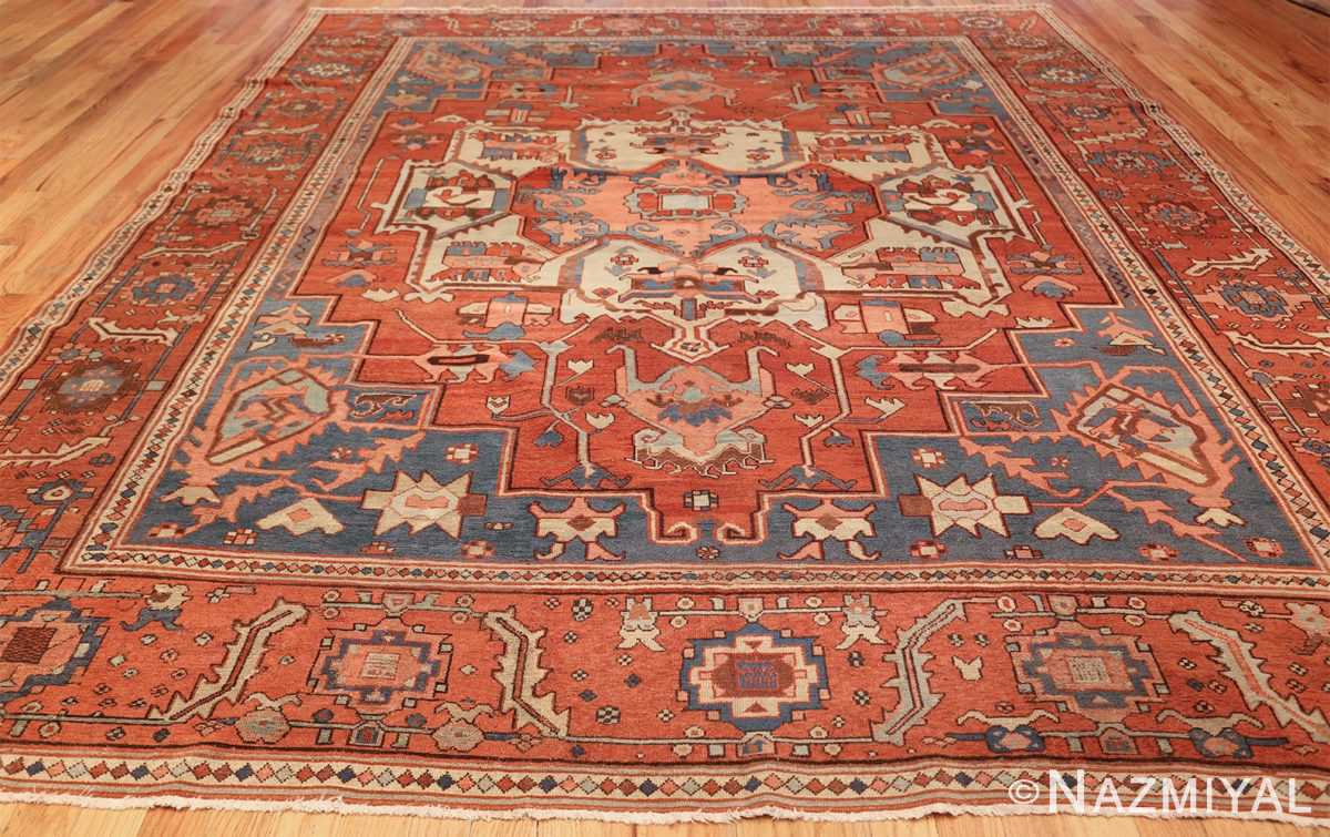 antique red background serapi persian rug 48240 whole Nazmiyal