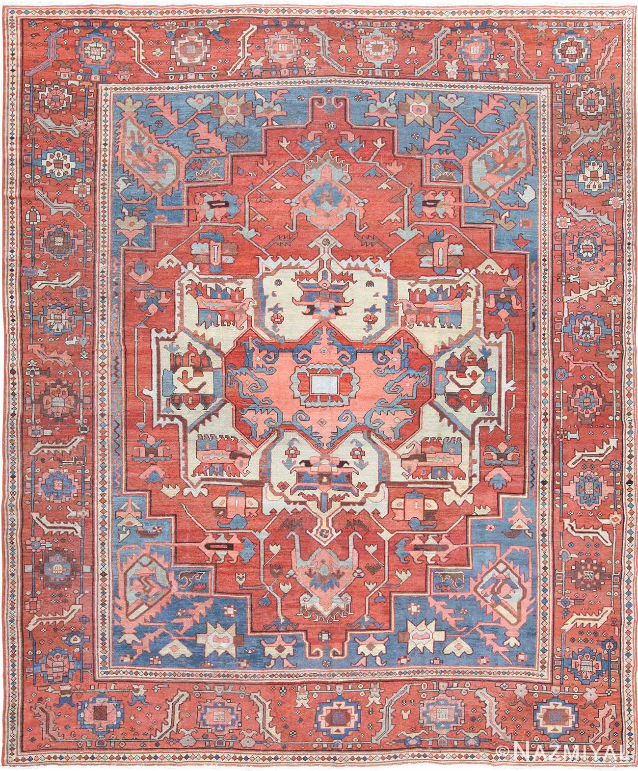 Antique Persian Serapi Rug 48240 Nazmiyal