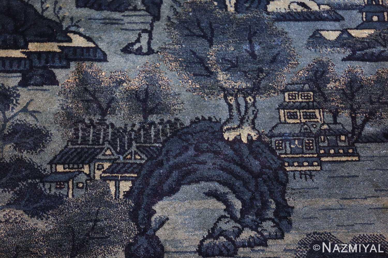 antique small chinese rug 49464 bridge Nazmiyal