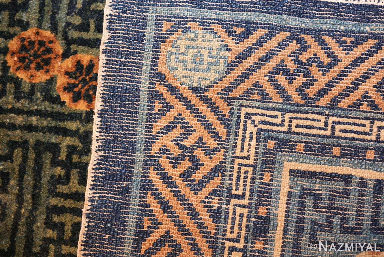 blue background small antique chinese rug 49466 weave Nazmiyal