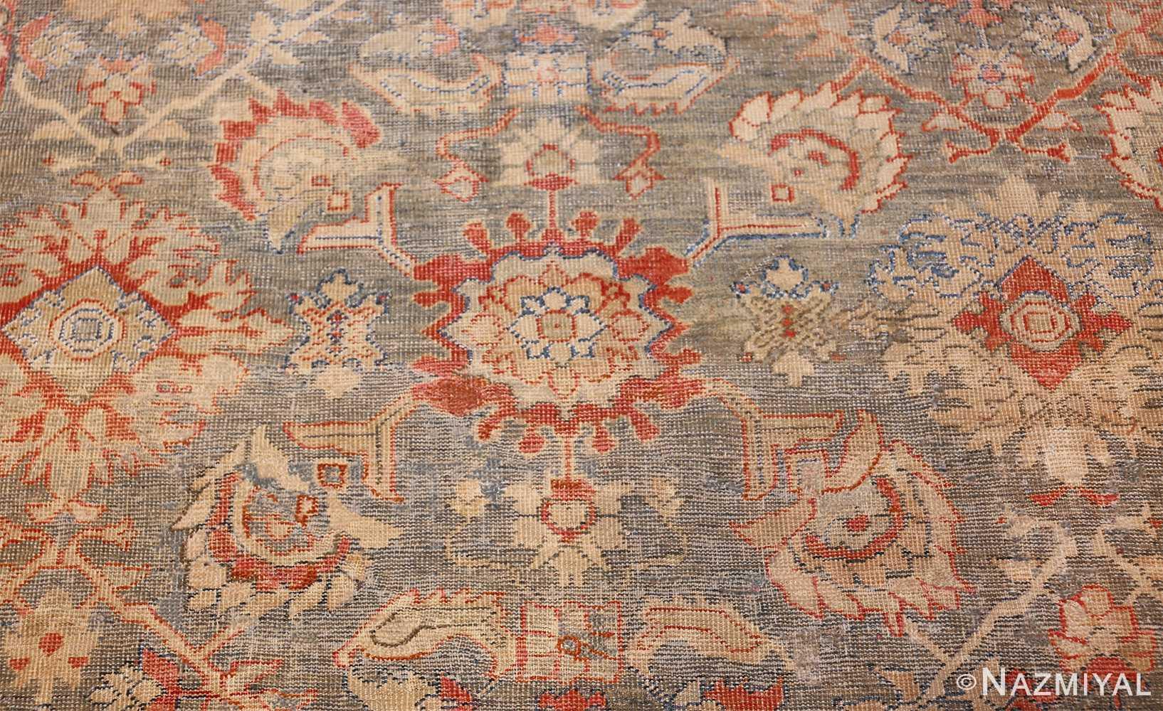 grayish background antique persian sultanabad rug 49388 red rose Nazmiyal