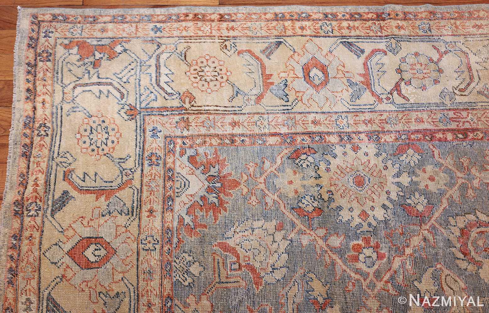 grayish bakground antique sultanabad persian rug 49388 corner Nazmiyal