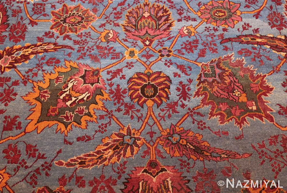 large blue antique agra indian rug 49048 center Nazmiyal