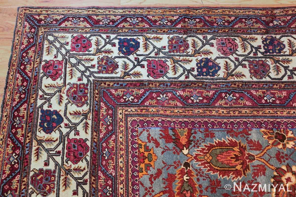 large blue antique agra indian rug 49048 corner Nazmiyal