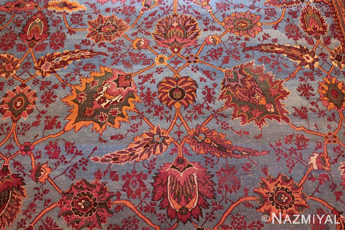 large blue antique agra indian rug 49048 field Nazmiyal