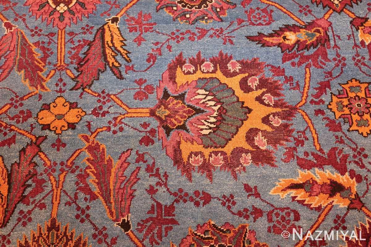 large blue antique agra indian rug 49048 part Nazmiyal