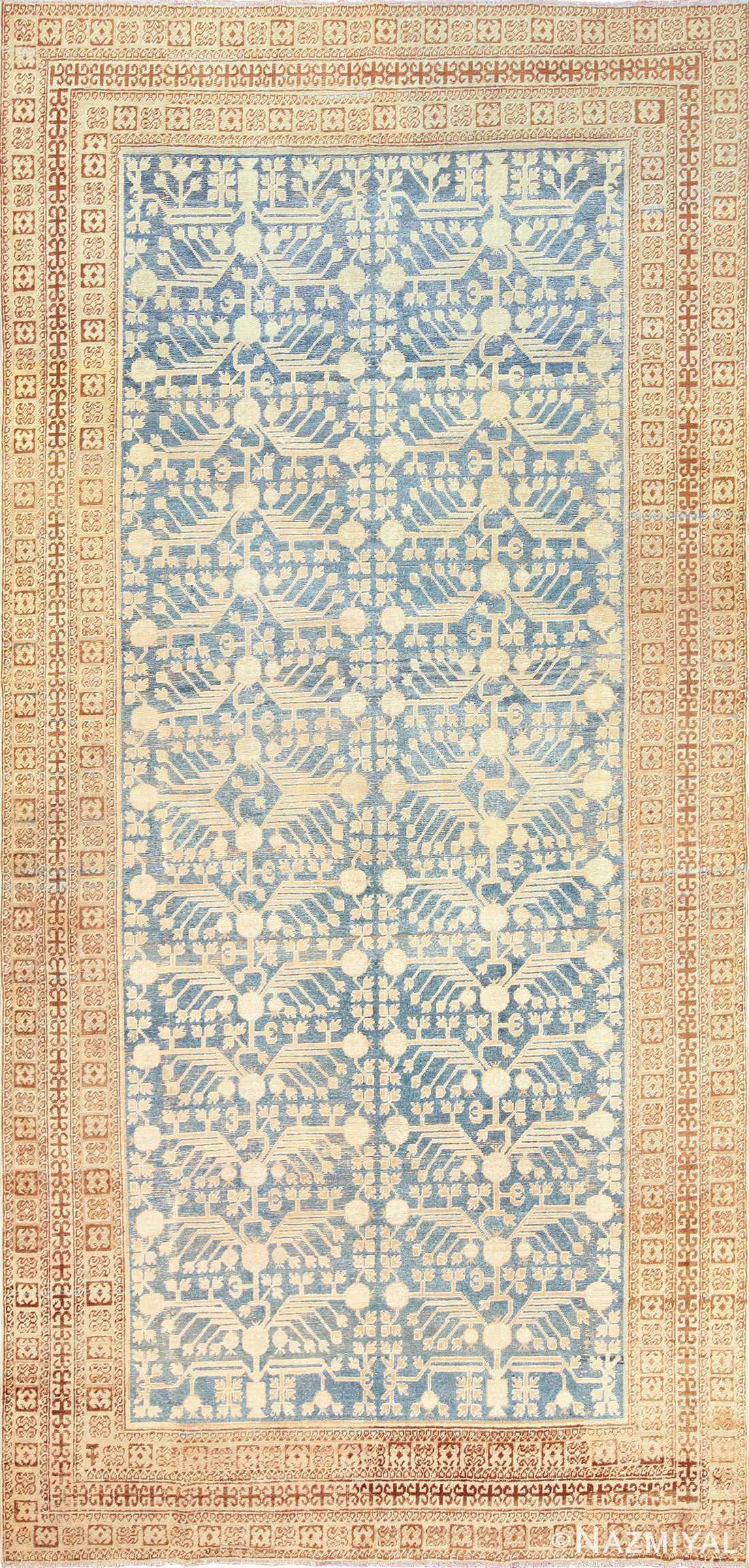 light blue antique khotan rug 49449 Nazmiyal