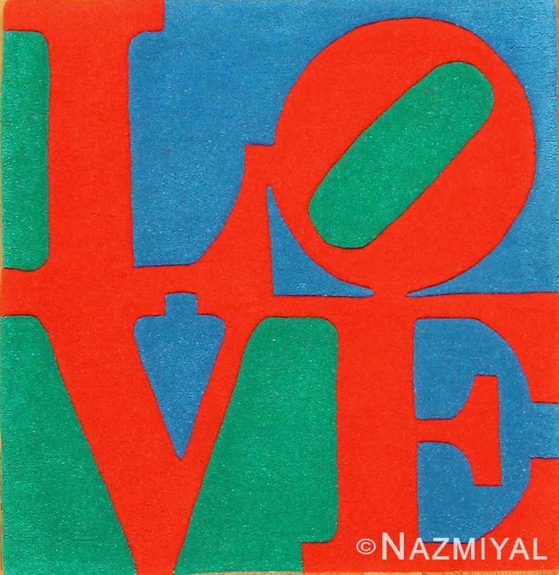 modern classic love indian rug by robert indiana 49470 Nazmiyal