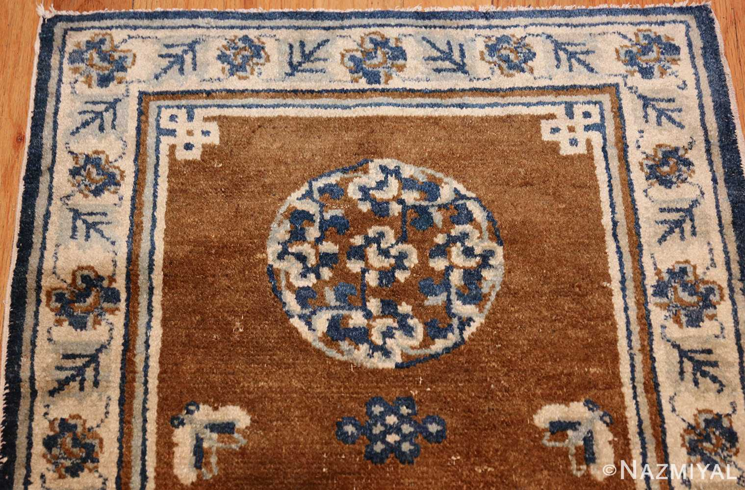 small size brown antique chinese rug 49465 top Nazmiyal