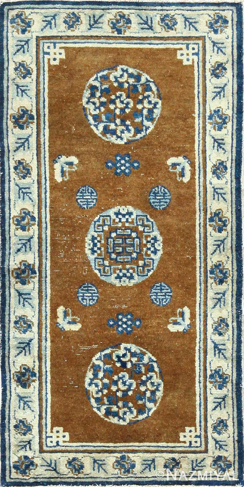 small size brown antique chinese rug 49465 Nazmiyal