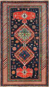 antique navy kazak caucasian rug 49507 Nazmiyal