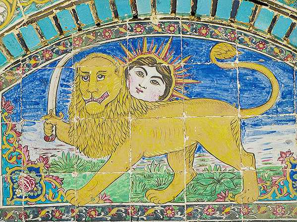 Antique Iranian Tile Depicting Lion with Sword and Sun Motif by Nazmiyal