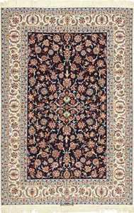 navy background silk and wool isfahan persian rug 49534 Nazmiyal