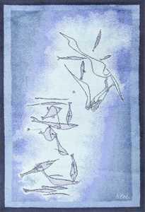 vintage paul klee inspired scandinavian fish rug by ege 49503 Nazmiyal