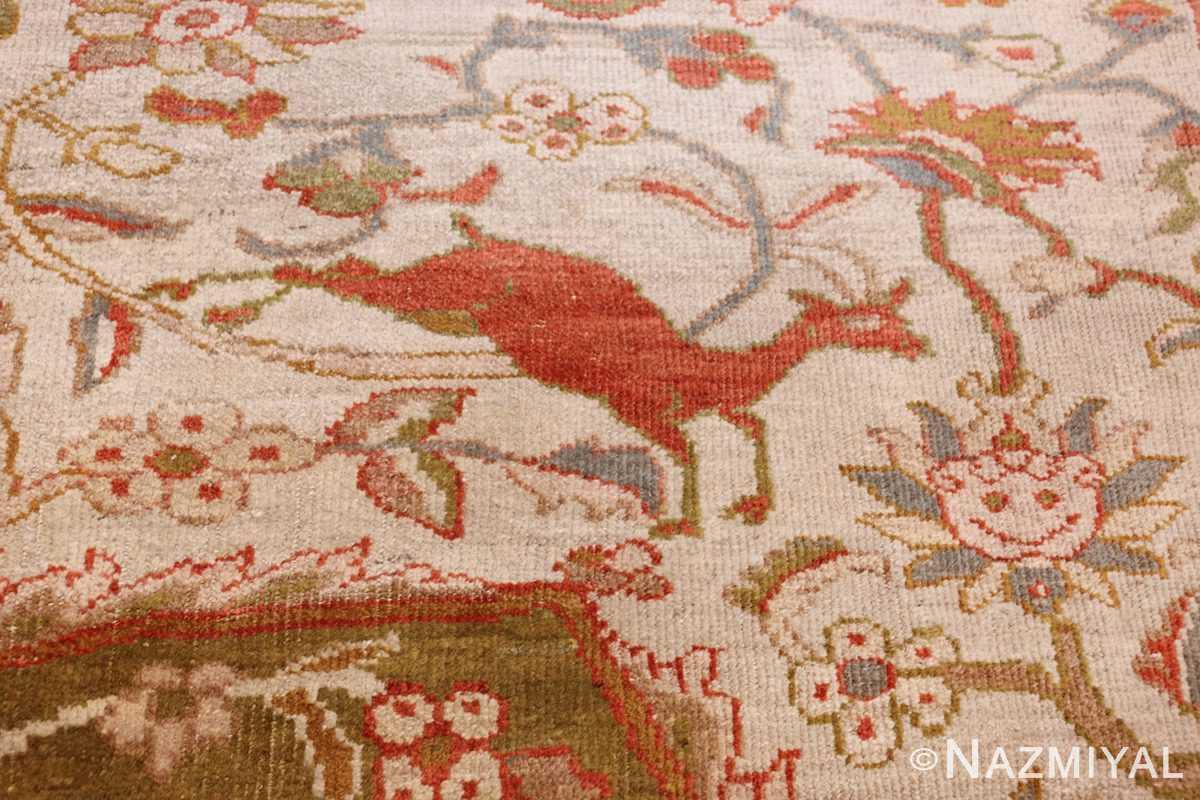 antique animal motif ziegler sultanabad persian rug 49532 jumping deer Nazmiyal