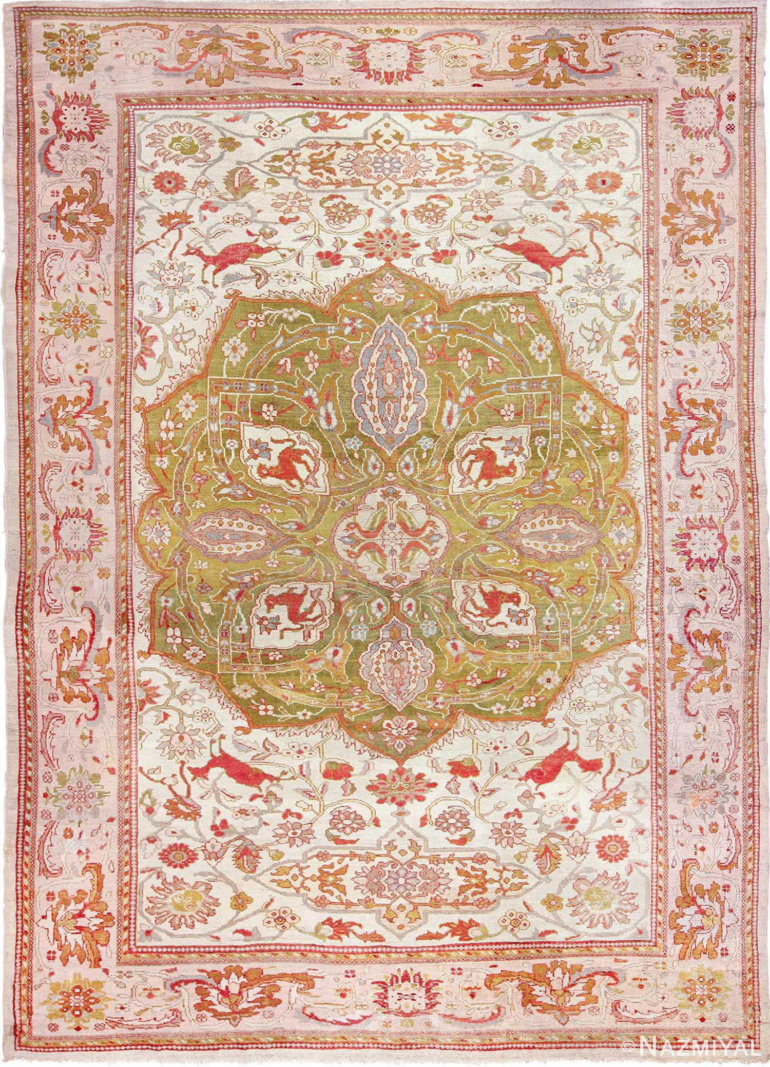 antique animal motif ziegler sultanabad persian rug 49532 Nazmiyal