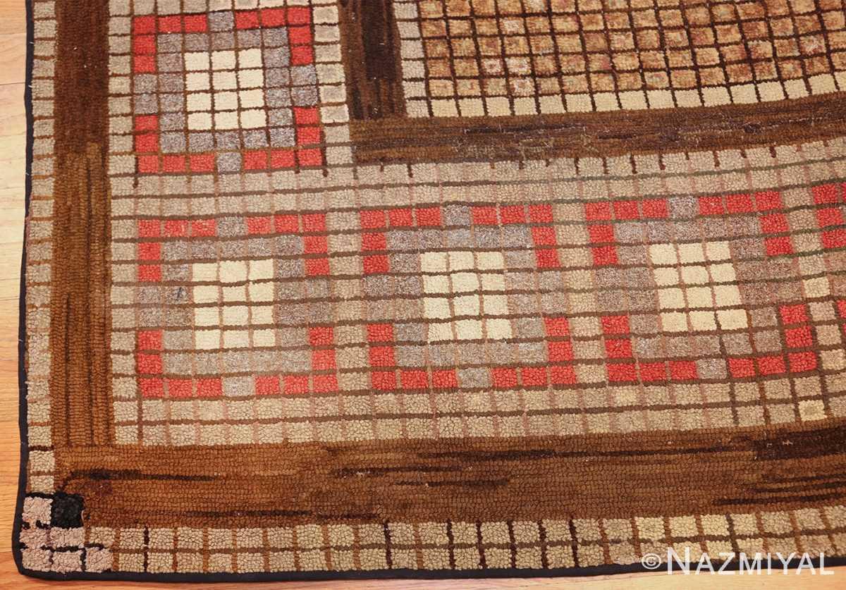 antique mosaic design american hooked rug 49529 corner Nazmiyal