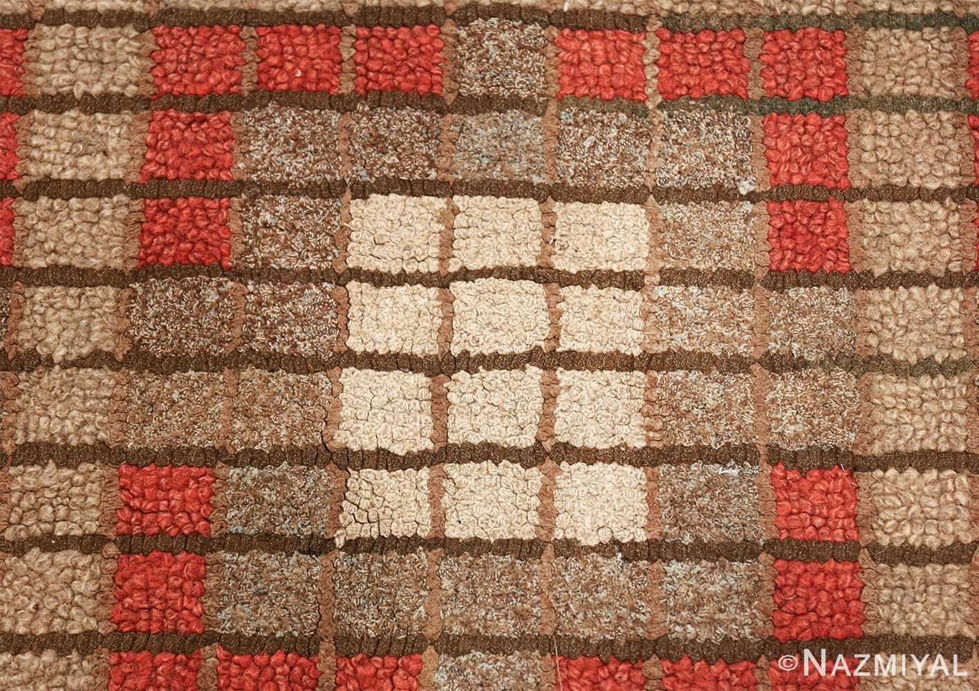 antique mosaic design american hooked rug 49529 white Nazmiyal