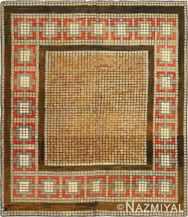 antique geometric art deco american hooked rug 49529 Nazmiyal