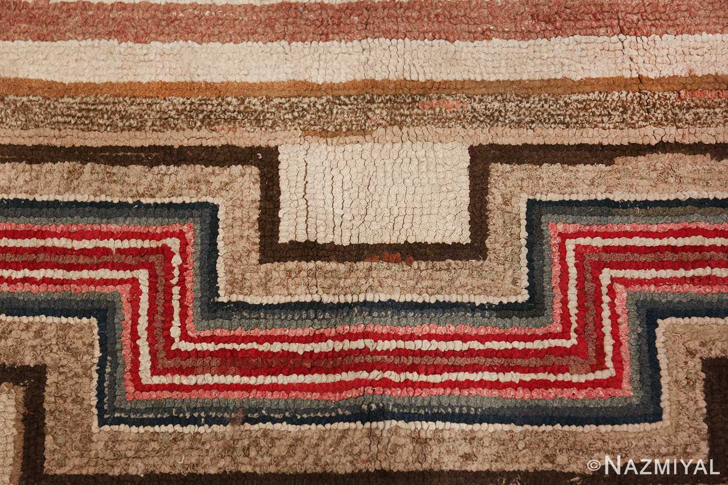colorful square american hooked rug 49528 red lines Nazmiyal