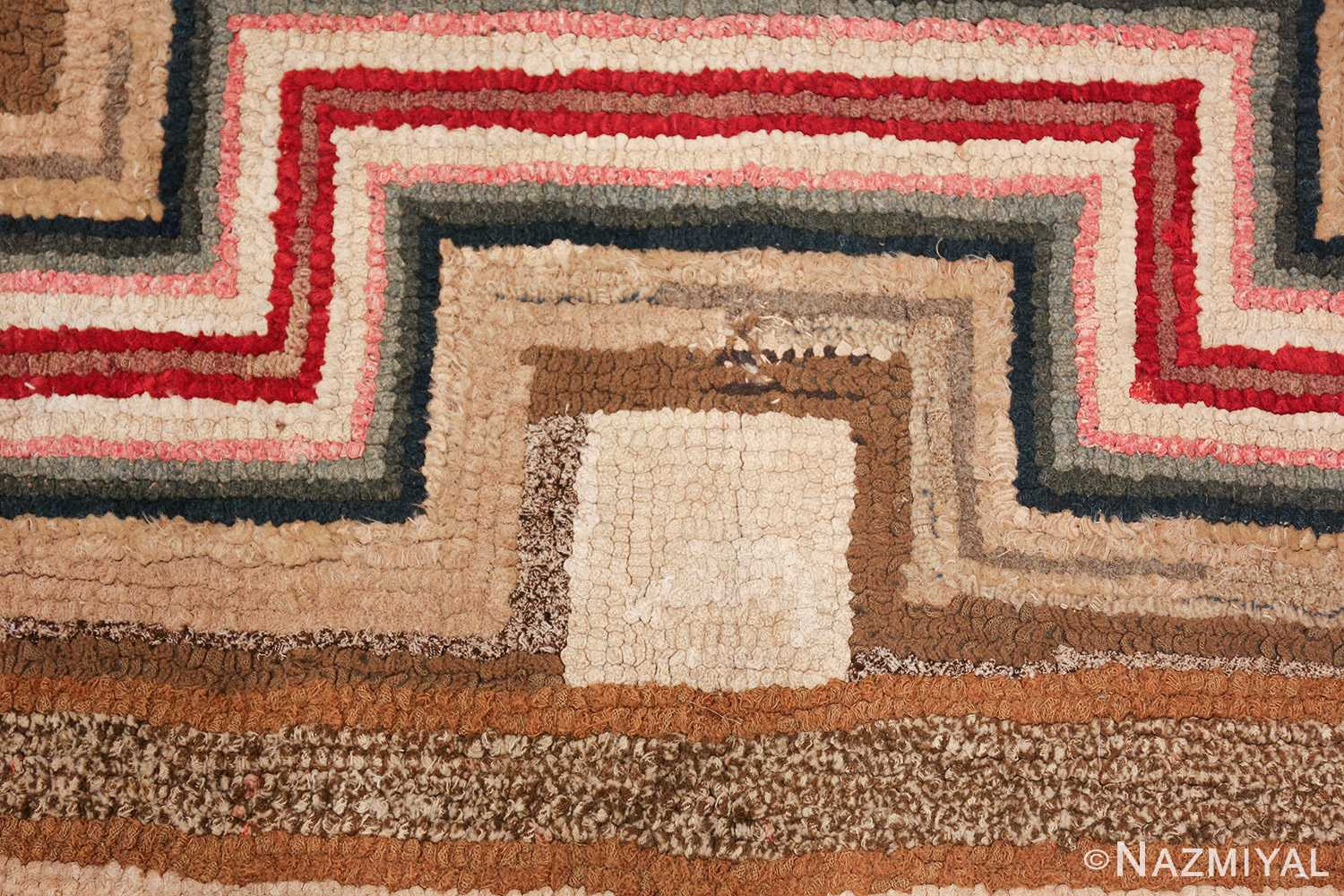 colorful square american hooked rug 49528 square Nazmiyal