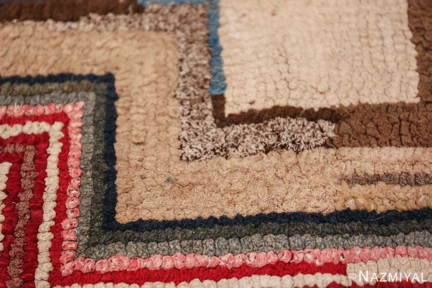 colorful square american hooked rug 49528 texture Nazmiyal