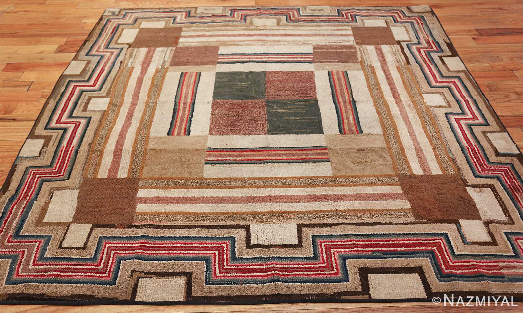 colorful square american hooked rug 49528 whole Nazmiyal