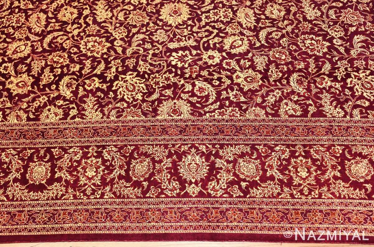 fine room size silk qum persian rug 49533 border Nazmiyal