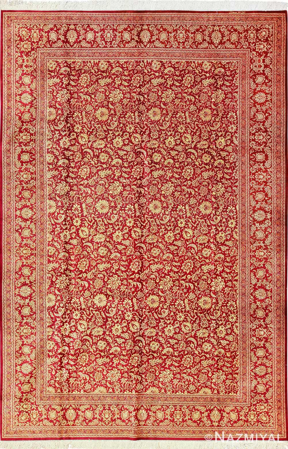 fine room size silk qum persian rug 49533 Nazmiyal