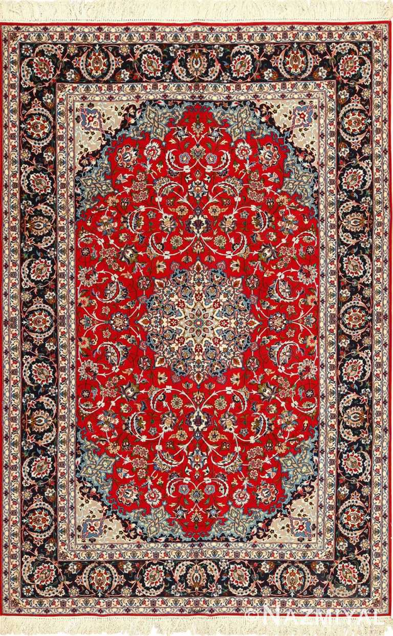 fine silk and wool isfahan persian rug 49535 Nazmiyal