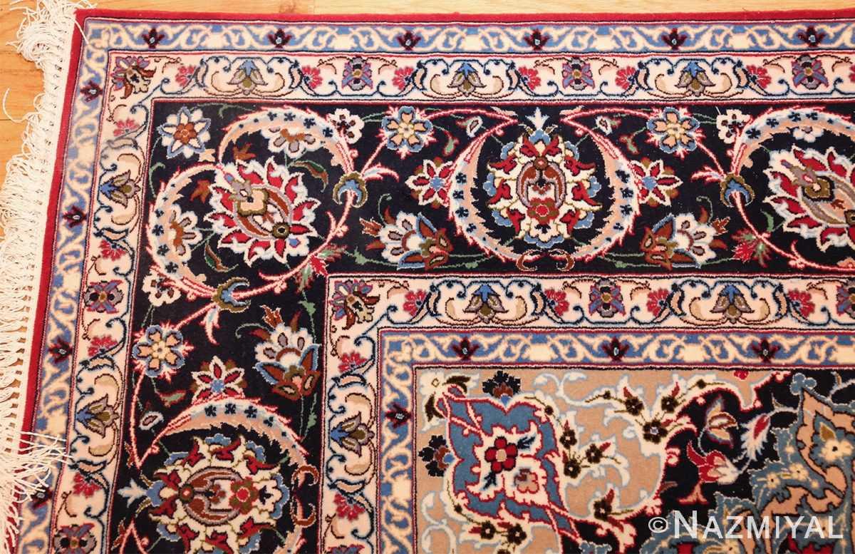 fine silk and wool isfahan persian rug 49535 corner Nazmiyal