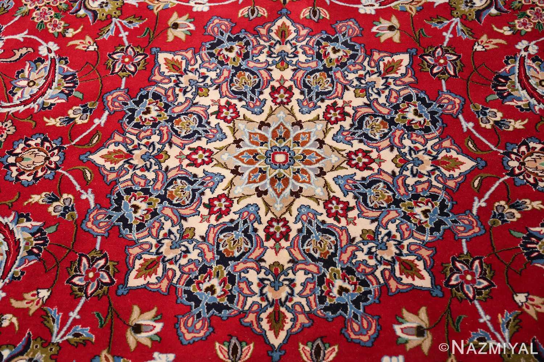 fine silk and wool isfahan persian rug 49535 medallion Nazmiyal