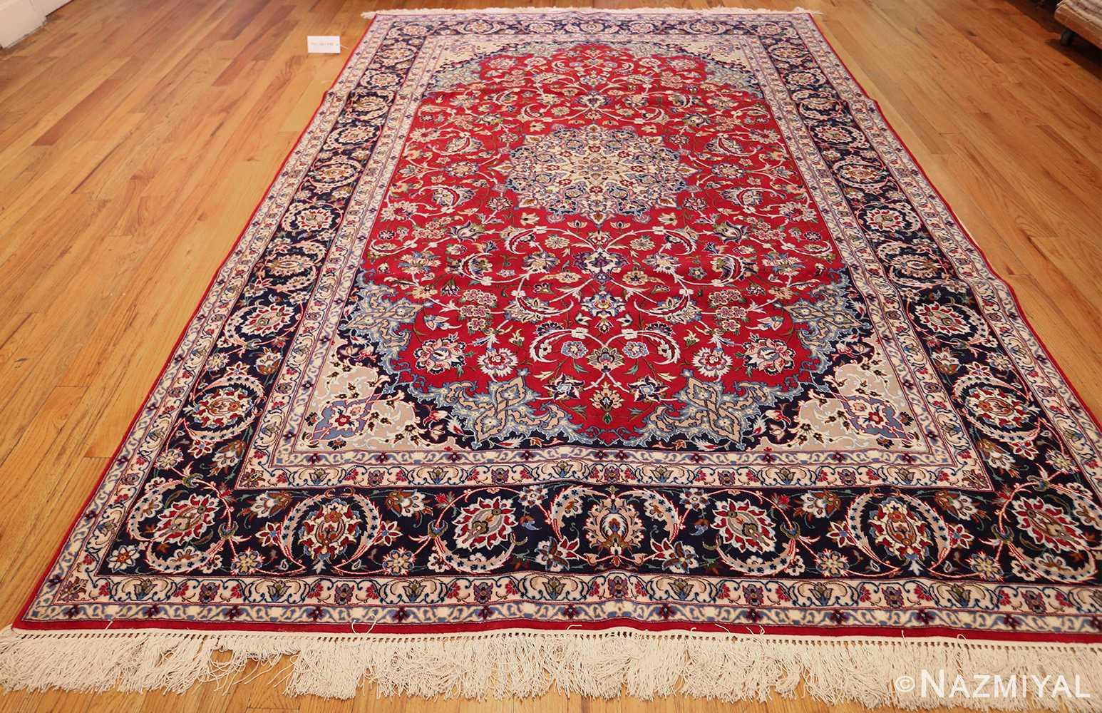 Fine Jewel Tone Silk And Wool Modern Persian Isfahan Rug 49535