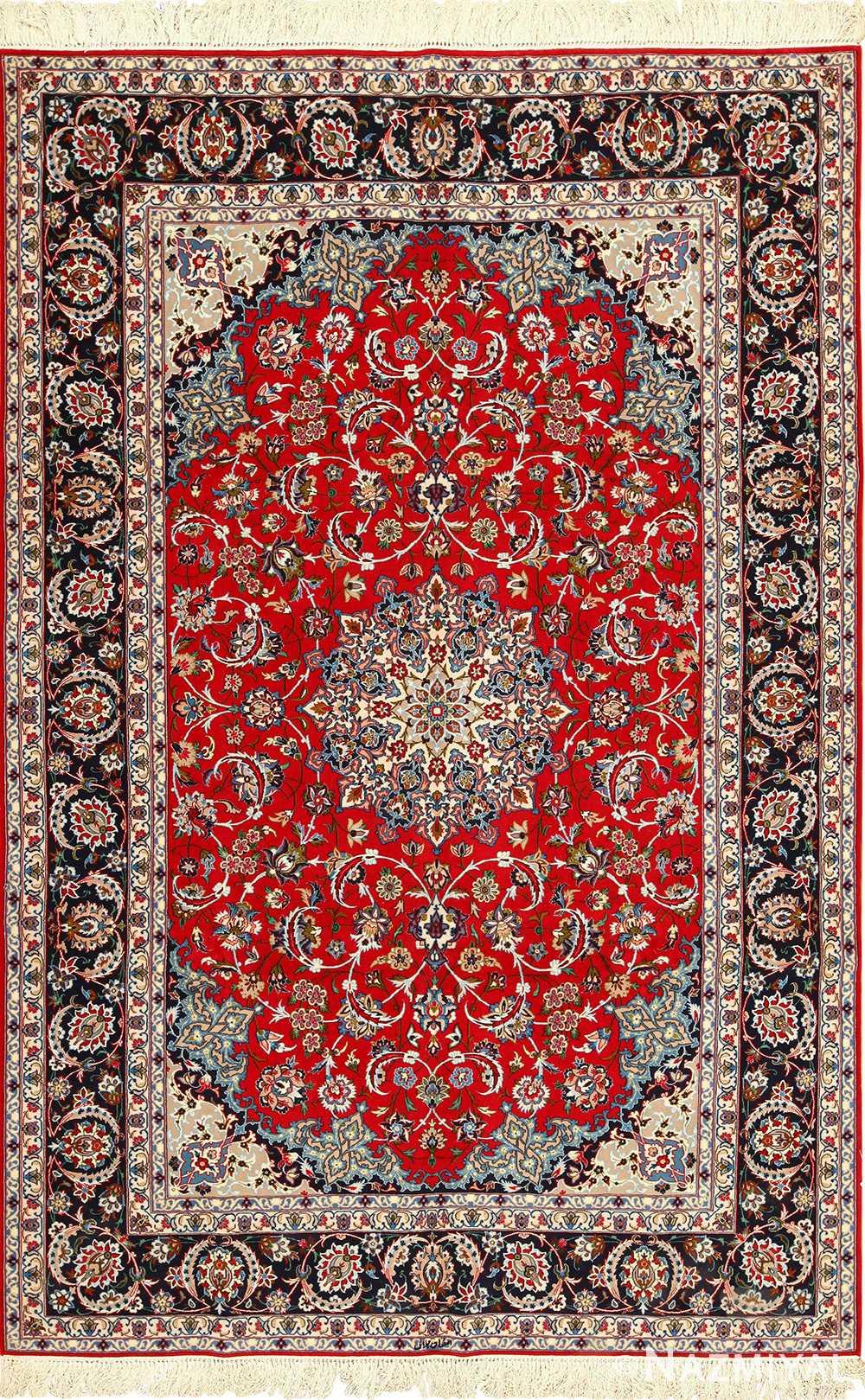 fine silk and wool isfahan persian rug 49535 Nazmiyal