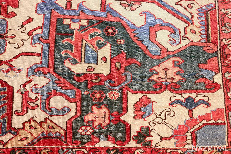large antique heriz serapi persian rug 49518 green Nazmiyal
