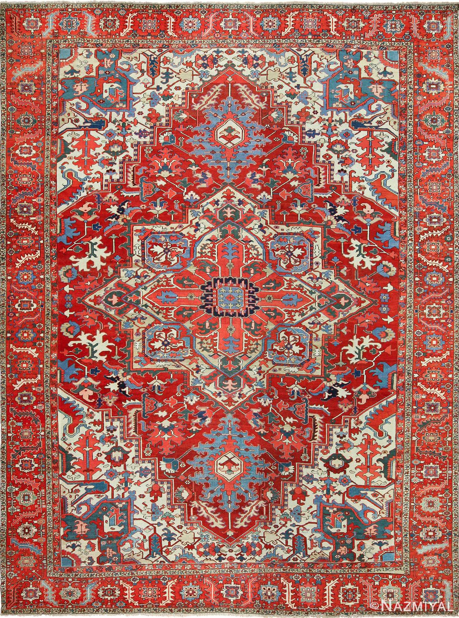 large antique heriz serapi persian rug 49518 Nazmiyal