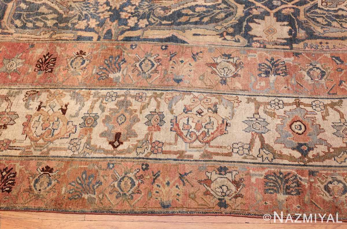 large blue background antique bidjar persian rug 50217 border Nazmiyal