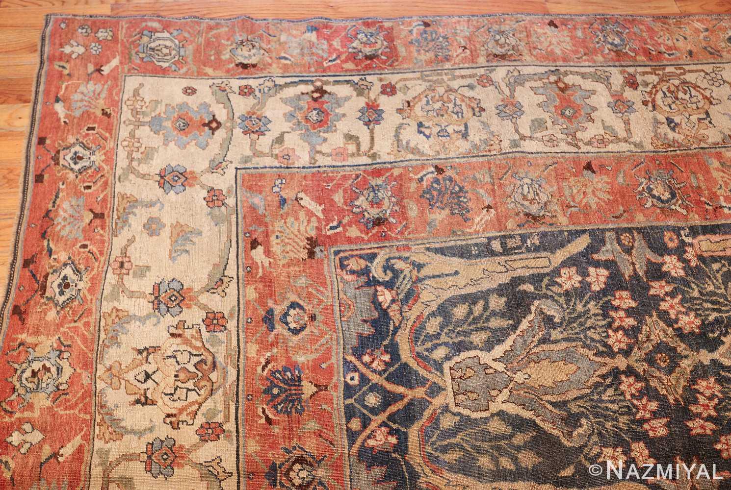 large blue background antique bidjar persian rug 50217 corner Nazmiyal