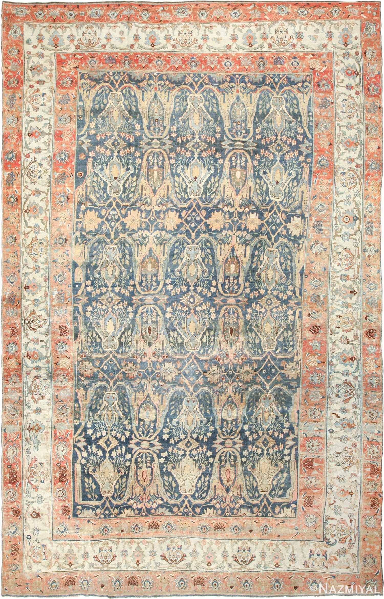 large blue background antique bidjar persian rug 50217 Nazmiyal