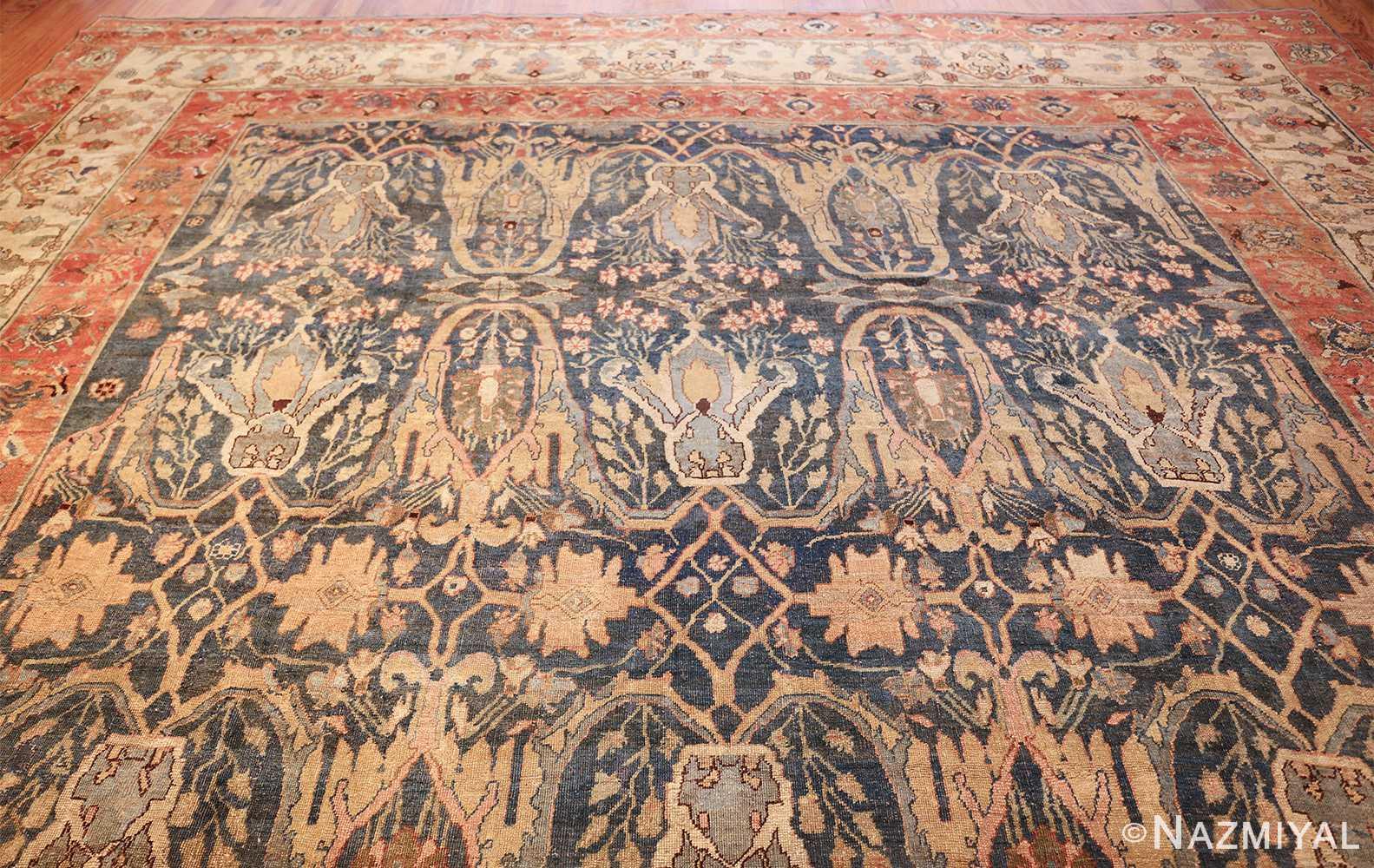 large blue background antique bidjar persian rug 50217 top Nazmiyal