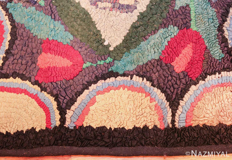 long antique art deco american hooked rug runner 49526 border Nazmiyal