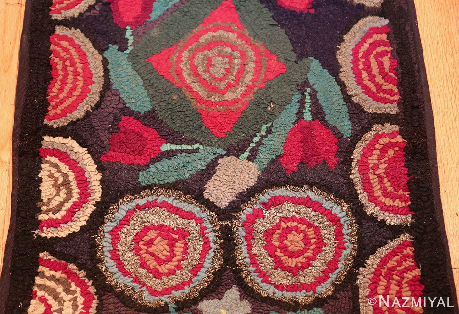 long antique art deco american hooked rug runner 49526 field Nazmiyal