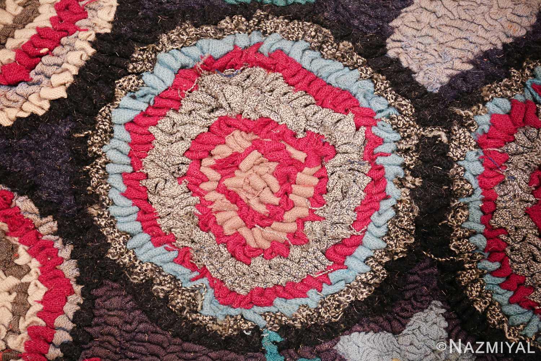 long antique art deco american hooked rug runner 49526 whirling Nazmiyal