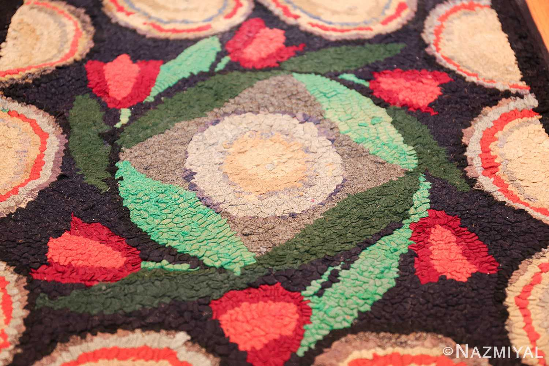 long antique art deco american hooked rug runner 49526 white circle Nazmiyal