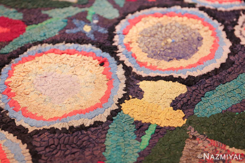 long antique art deco american hooked rug runner 49526 yellow tulip Nazmiyal