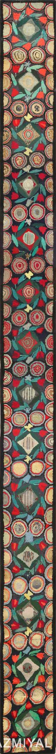 long antique art deco american hooked rug runner 49526 Nazmiyal