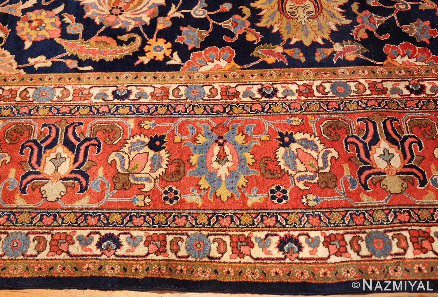 navy background large antique tabriz persian rug 49476 border Nazmiyal
