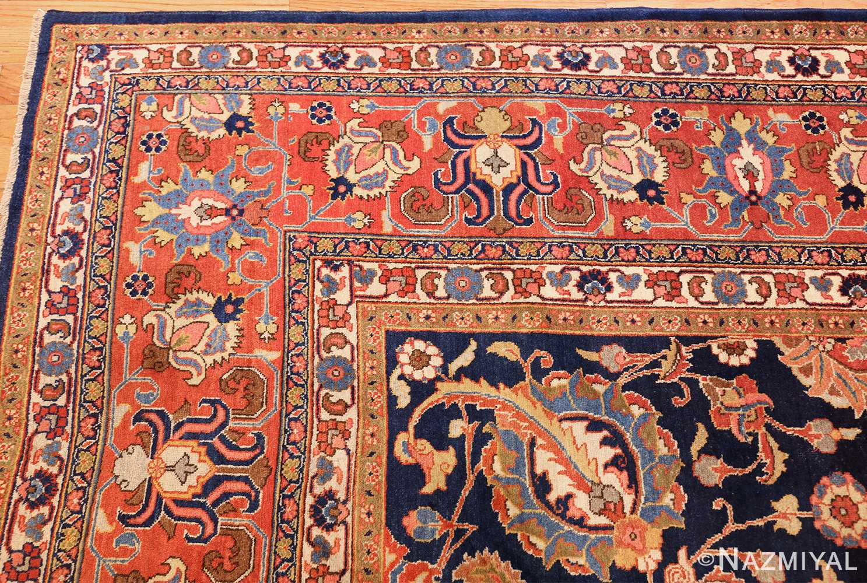 navy background large antique tabriz persian rug 49476 corner Nazmiyal