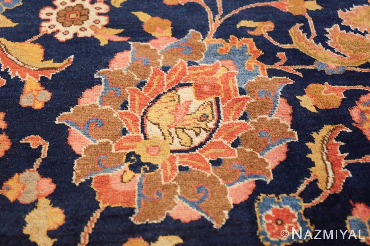 navy background large antique tabriz persian rug 49476 leaf Nazmiyal