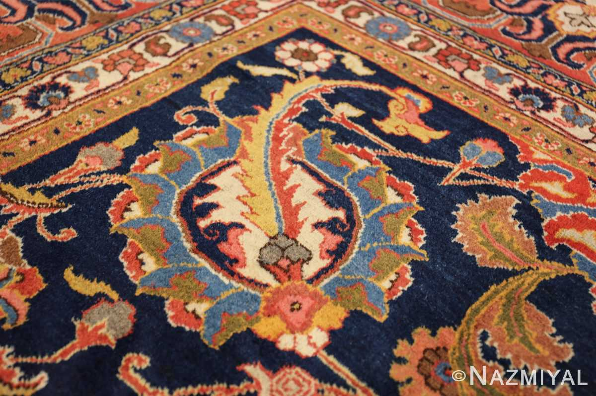 navy background large antique tabriz persian rug 49476 scrolls Nazmiyal